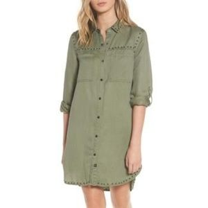 Rails women XS green Bowie shirt dress studs